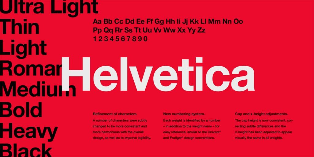 Esempio font Helvetica